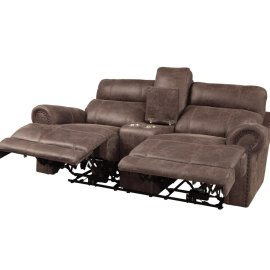 POWER Double Reclining Love Seat with Center Console & Power Headrests