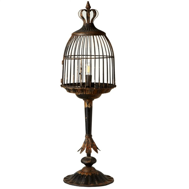 145475 In By Midwest Cbk In Distressed Black Bird Cage Table Lamp