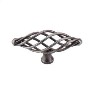 Oval Medium Twist Knob 3 Inch - Pewter