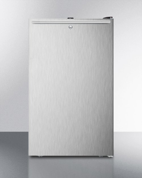 """Commercially Listed 20"""" Wide Counter Height Refrigerator-freezer With A Lock, Stainless Steel Door, Horizontal Handle and Black Cabinet"""