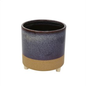 "Ceramic 6"" Footed Planter, Purple"