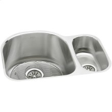"""Elkay Lustertone Classic Stainless Steel 26-3/4"""" x 20"""" x 10"""", Offset 70/30 Double Bowl Undermount Sink Kit"""