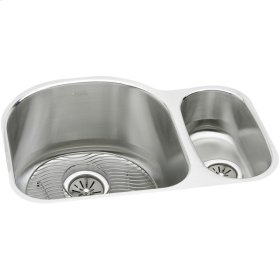 "Elkay Lustertone Classic Stainless Steel 26-3/4"" x 20"" x 10"", Offset 70/30 Double Bowl Undermount Sink Kit"