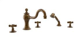 MARVELLE Deck Tub Set with Hand Shower 162-48 - Satin Gold Antiqued