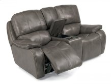 MacKay Leather Power Reclining Loveseat with Console