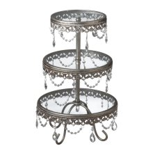 Antique Silver Three-Tier Stand with Jewels.