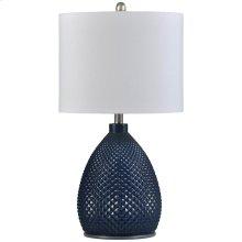 Navy Blue  Transitional Glass Table Lamp  150W  3-Way  Hardback Shade