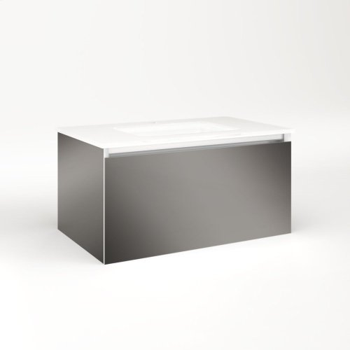 """Cartesian 30-1/8"""" X 15"""" X 18-3/4"""" Single Drawer Vanity In Tinted Gray Mirror With Slow-close Plumbing Drawer and No Night Light"""