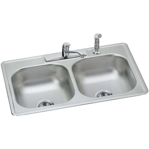 """Dayton Stainless Steel 33"""" x 22"""" x 7-1/16"""", Equal Double Bowl Drop-in Sink and Faucet Kit"""