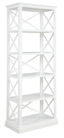 - Bookcase finished in antique white- Constructed with poplar, MDF, and ash veneer- Features five tiers of shelving- Pair with matching writing desk (#801381)