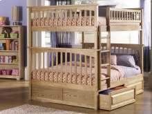 Columbia Bunk Bed Full over Full with Raised Panel Bed Drawers in Natural