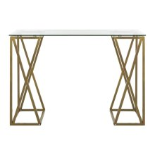 Theresa Glass Top Desk - Clear / Gold
