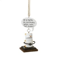 """Toasted S'mores """"We go Together Like Marshmallow, Graham Cracker and Chocolate!"""" Ornament. Product Image"""