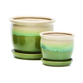 Suave Petits Pots w/ attached saucer, White/Green - 4 sets of 2 (Min Qty 4)