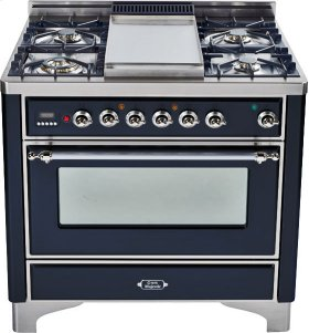 Gloss Black with Chrome trim - Majestic 36-inch Range with Griddle