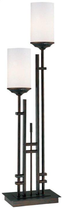 2-lite Table Lamp,antique Bronze/fro Gls,e27 Cfl 13wx2