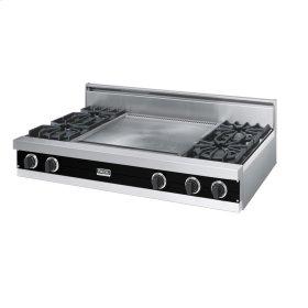 """Black 48"""" Open Burner Rangetop - VGRT (48"""" wide, four burners 24"""" wide griddle/simmer plate)"""