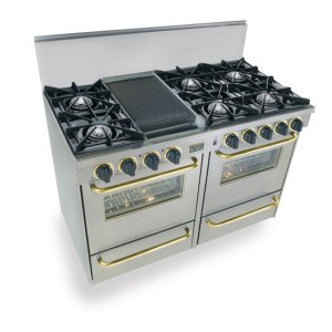 "Five Star48"" All Gas Range, Open Burners, Stainless Steel with Brass Trim"