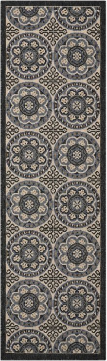 Caribbean Crb15 Ivory/charcoal Runner 2'3'' X 7'6''