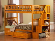 Woodland Staircase Bunk Bed Twin over Twin with Raised Panel Bed Drawers in Caramel Latte