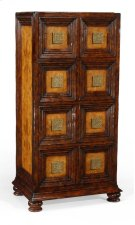 Distressed Walnut Tall 8-Drawer Chest (Square Brass Handles) Product Image