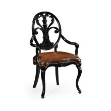 Sheraton Style Oval Back Armchair with Medium Antique Chestnut Leather Seat