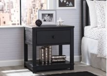 Langston Nightstand with Drawer and Shelf - Rustic Ebony (935)