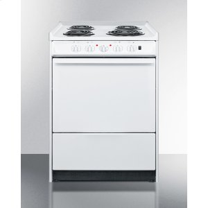 """Summit24"""" Wide Slide-in Electric Range In White With Lower Storage Compartment; Replaces Wem610rt"""