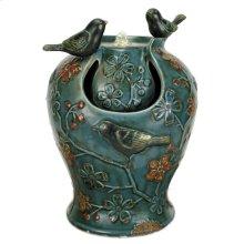 Blue Verdigris Songbird Fountain