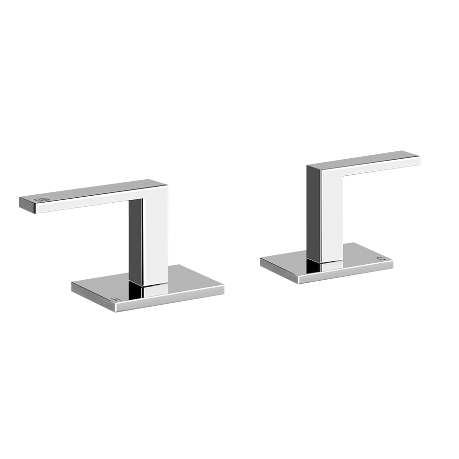 Deck-mounted washabsin mixer handle kit Separate hot/cold Lever handles For spouts 27102s, 27103s, and 27106s Drain not included - See DRAINS section