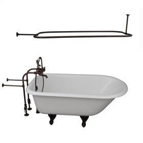 """Brocton 68"""" Cast Iron Roll Top Tub Kit - Oil Rubbed Bronze Accessories - White"""