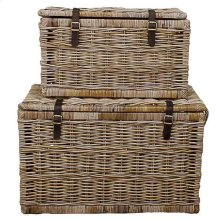 Rectangular Rattan Trunk with Strap Set of 2, Natural Gray