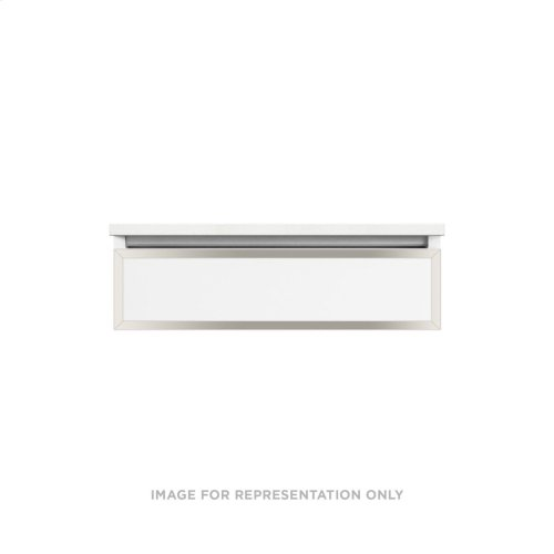 """Profiles 30-1/8"""" X 7-1/2"""" X 21-3/4"""" Framed Slim Drawer Vanity In Tinted Gray Mirror With Polished Nickel Finish and Tip Out Drawer"""