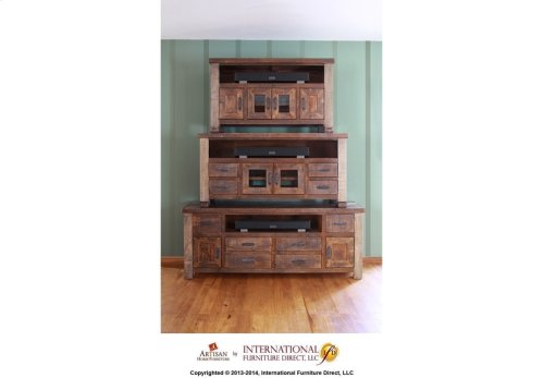 """62"""" TV Stand w/2 glass doors and 4 drawers"""