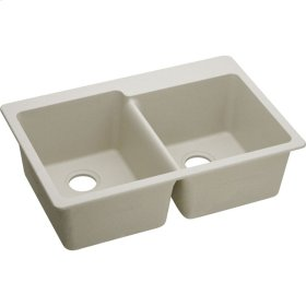 """Elkay Quartz Classic 33"""" x 22"""" x 9-1/2"""", Offset Double Bowl Top Mount Sink, Bisque"""