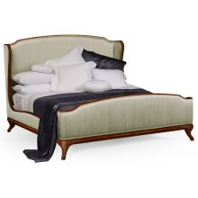 US King Louis XV Walnut Bed, Upholstered in Duck Egg Silk