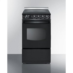 "Summit20"" Wide Slide-in Smooth-top Electric Range In Black With Oven Window"