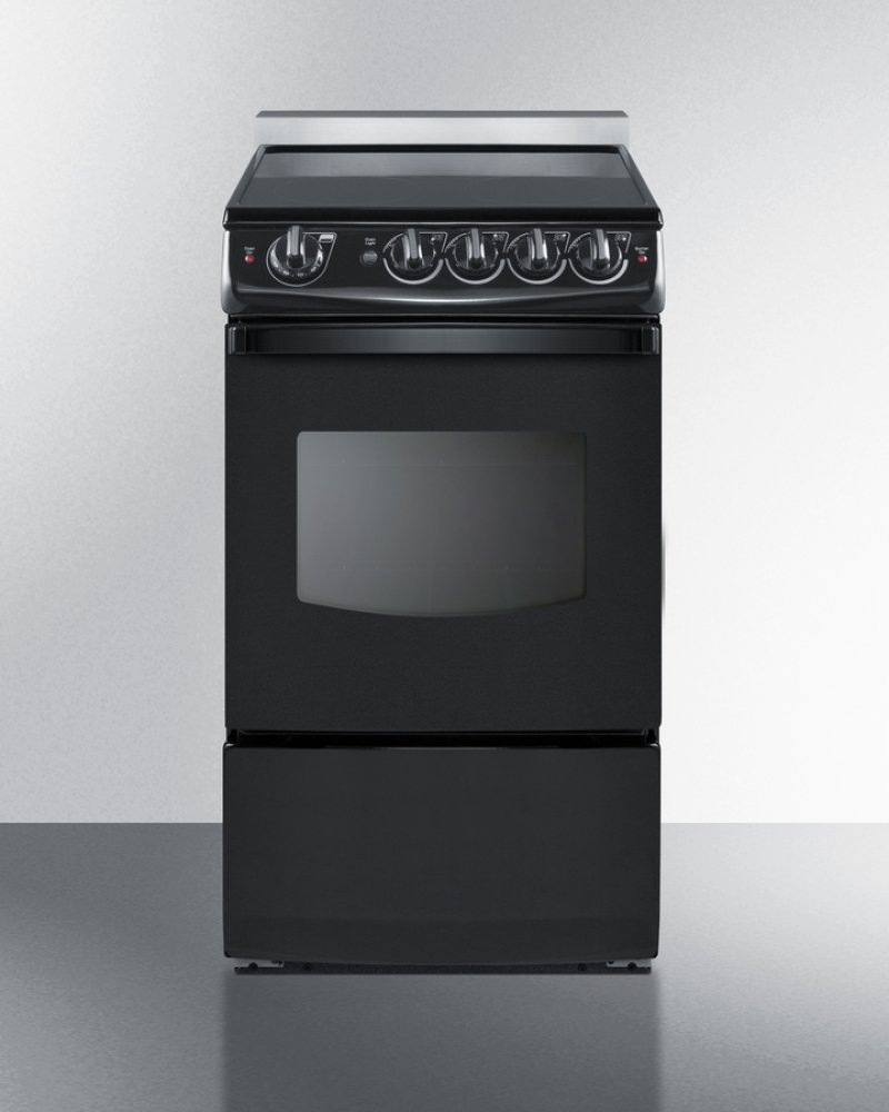 20 Wide Slide In Smooth Top Electric Range Black With Oven Window