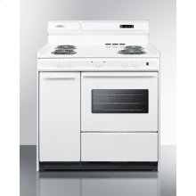 """Deluxe 220v White Electric Range With Clock/timer and Oven With Light In 36"""" Width"""