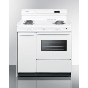 """SummitDeluxe 220v White Electric Range With Clock/timer and Oven With Light In 36"""" Width"""