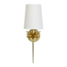 Gold Leaf One Arm Sconce With 3 Layer Leaf Motif & White Linen Shade.