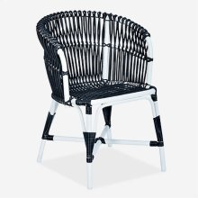 St. Martin Outdoor Round Back Occassional Chair - White/Black