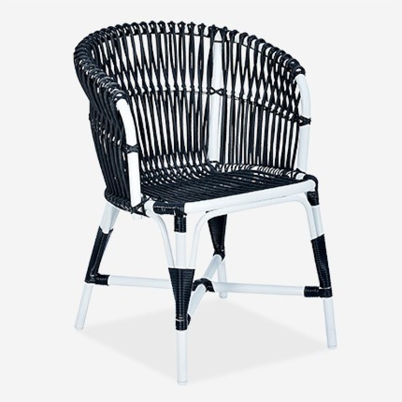 St Martin Outdoor Round Back Occional Chair White Black