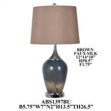 "26.5""H GLSS TABLE LAMP/CHROME METAL BASE,2PCS/ 3.11'"
