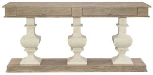 Campania Console Table Pedestals, Top, and Base in Campania Weathered Sand (370)