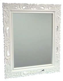 Floral Carved Mirror - Wht