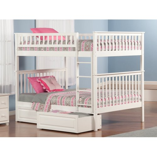 Woodland Bunk Bed Full over Full with Raised Panel Bed Drawers in White