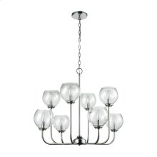 Emory 8-Light Chandelier in Polished Chrome with Clear Blown Glass