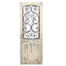 Distressed White Door Mirror with Black Scroll Overlay.