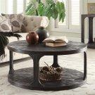 Bellagio - Round Coffee Table - Weathered Worn Black Finish Product Image